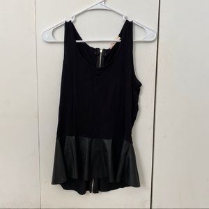 Black Babydoll Tank with Leather